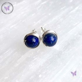 Lapis Lazuli Silver Wire Wrap Stud Earrings